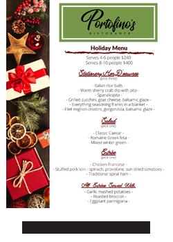 Portofino's Morristown Holiday Menu 2020
