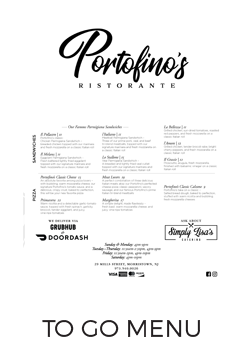 Portofino's Morristown To Go Menu