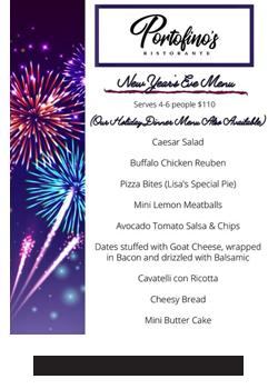 Portofino's Morristown New Years Eve Menu 2020